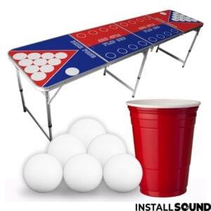 Lej Beer pong bord med tennisbolde, kupper i rød og blå hos Installsound