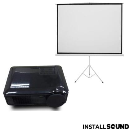 LED projektor fra Raadaal - Projektor lærred på 3 ben - mål 200 x 150 cm ratio 4:3 - Fra InstallSound.dk