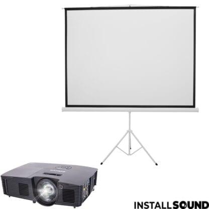 Halogen projektor fra Infocus og Projektor lærred på 3 ben - mål 200 x 150 cm ratio 4:3 - Fra Steinigke