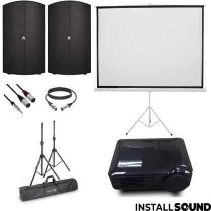 LED projektor fra Raadaal - Projektor lærred på 3 ben - mål 200 x 150 cm ratio 4:3 - og højtaler Avante fra ADJ - Fra InstallSound.dk