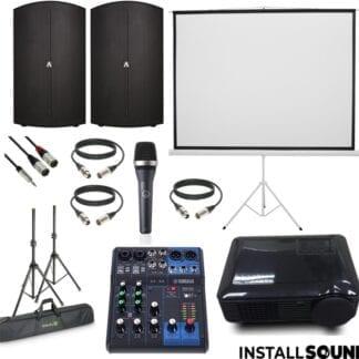 LED projektor fra Raadaal- Projektor lærred på 3 ben - mål 200 x 150 cm ratio 4:3 - og højtaler Avante fra ADJ - AKG mikrofon - Yamaha MG06 mixer - Fra InstallSound.dk