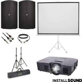 Halogen projektor fra Infocus - Projektor lærred på 3 ben - mål 200 x 150 cm ratio 4:3 - og højtaler Avante fra ADJ - Fra InstallSound.dk