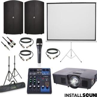 Halogen projektor fra Infocus - Projektor lærred på 3 ben - mål 200 x 150 cm ratio 4:3 - og højtaler Avante fra ADJ - AKG mikrofon - Yamaha MG06 mixer - Fra InstallSound.dk