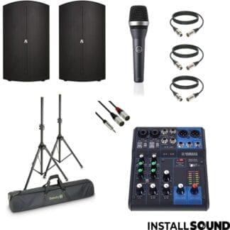 Højtaler Avante fra ADJ - AKG mikrofon - Yamaha MG06 mixer - Fra InstallSound.dk