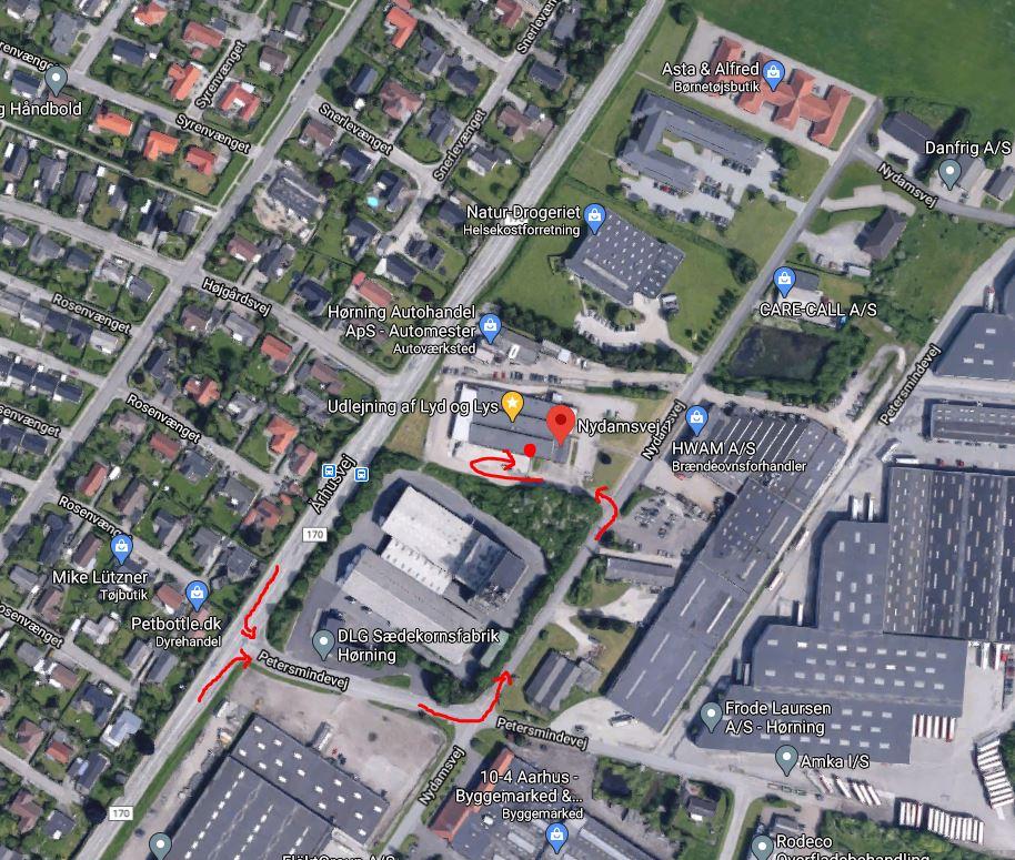 Find vej til Installsound på Nydamsvej 1, 8362 Hørning